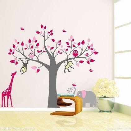 Muursticker boom met giraffe, aap, uiltjes en olifant