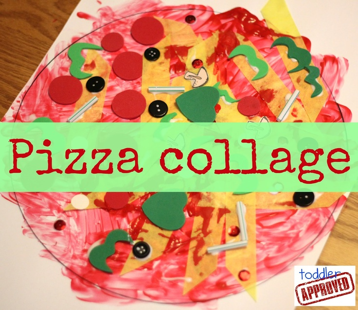 this pizza collage looks like so much fun, another activity you could try before actually making the meal with your kids