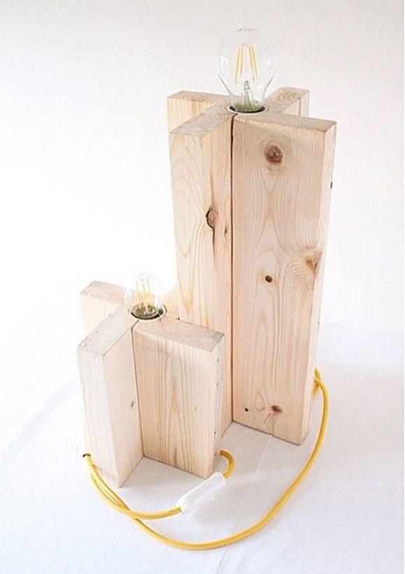 Luminária pinus madeira