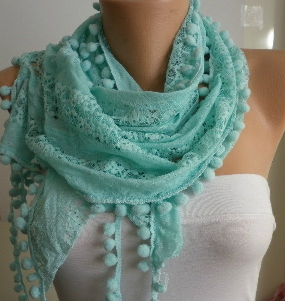 LOVE this scarf    Magic Mint Scarf   Necklace Cowl with Lace by fatwoman, $14.90