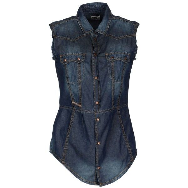 DIESEL Denim shirt ($49) ❤ liked on Polyvore featuring tops, shirts, blue, blue sleeveless top, blue shirt, faded denim shirt, snap shirt and blue denim shirt