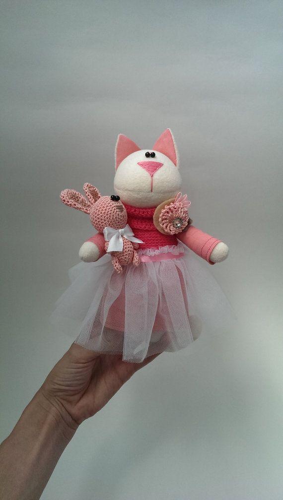 Toy Cat Soft Pink Bunny Rabbit Spring Princess Baby от KotOmkaRU