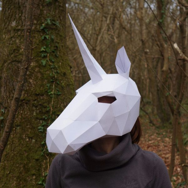 These Plans Enable You Turn Simple Recycled Card Into A 3D Low Polygon  Unicorn Mask.  Paper Face Mask Template
