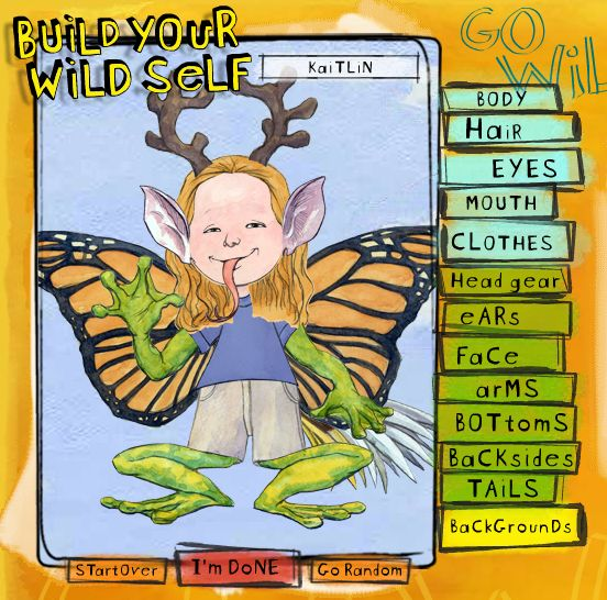 "teaches animal adaptations by letting you build your own creature. ""Build Your Wild Self."" My kids would love this!"
