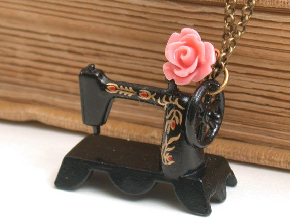 Sewing Machine Miniature Necklace - For The Sewing Lovers- A Piece Of Nostalgia.