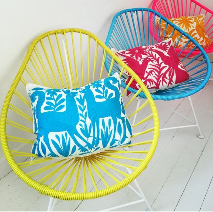 Compliment your funky Acapulco chairs with some colourful printed pillows.