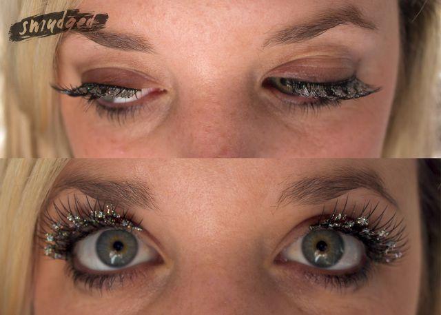 Glitter false eyelashes http://smudgedbeauty.co.za/2013/09/16/glitter-falsies/