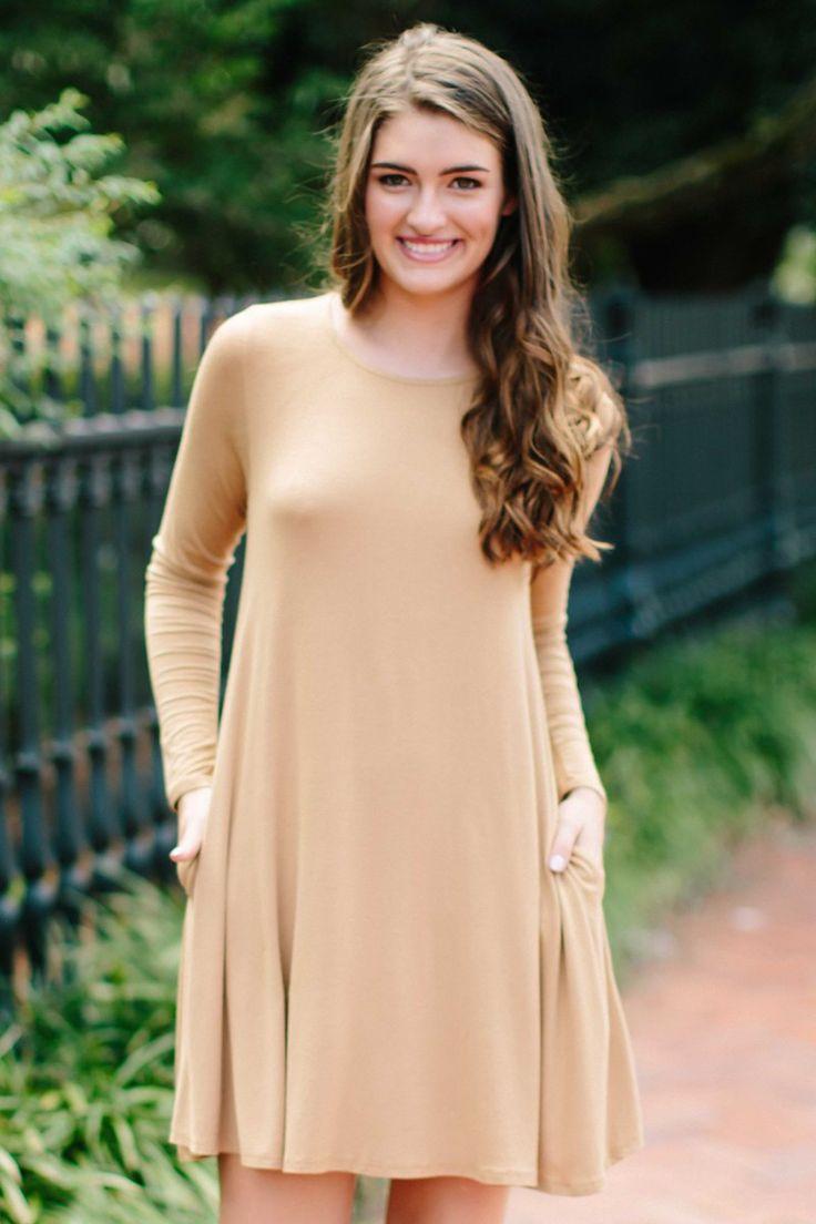Simplicity Is Key Camel T-Shirt Dress at reddressboutique.com