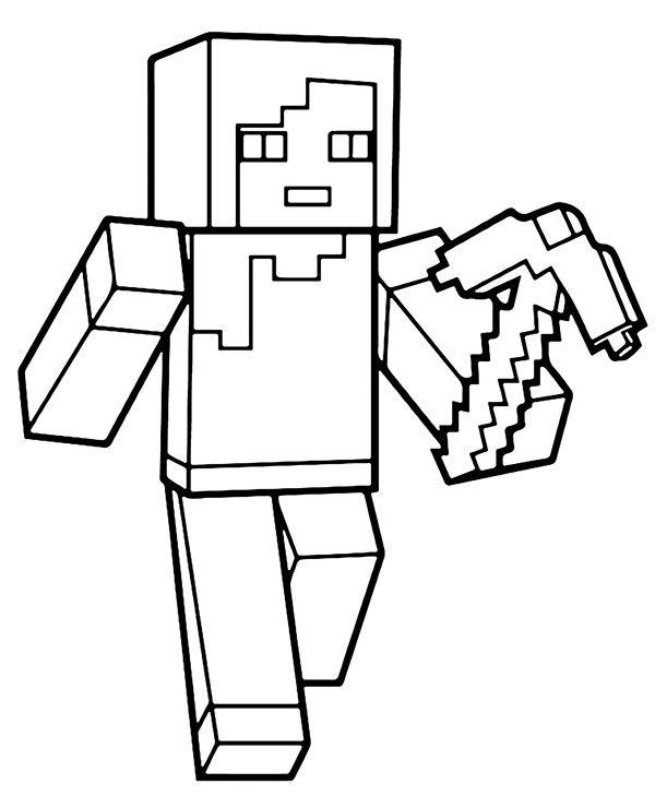 Minecraft Top Character With Pickaxe Malvorlagen Minecraft Ausmalbilder Kostenlose Ausmalvorlagen