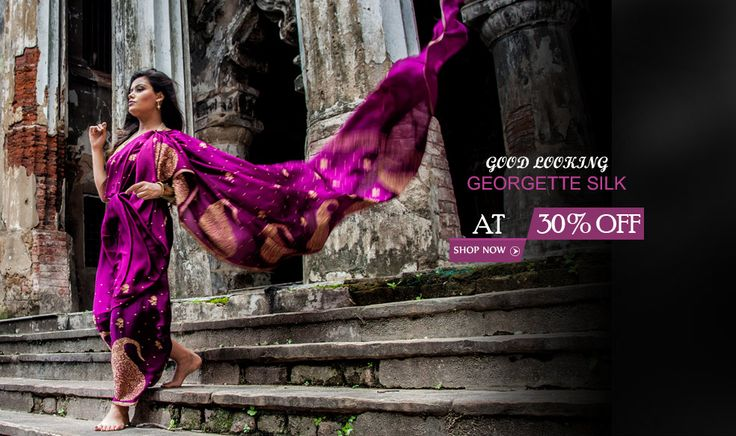 Jazzy #GeorgetteSilkSarees for arousing love this Valentine's Day!