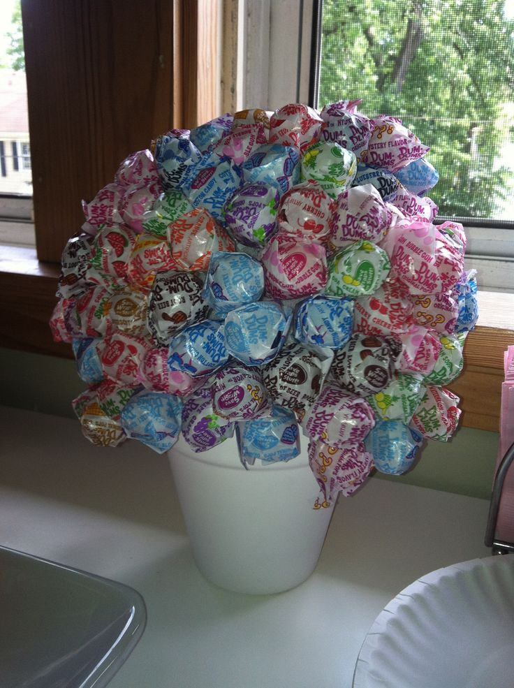 Sucker centerpiece, candy table, dum-dum flowers, candy flowers. Medium Styrofoam ball sold at craft store, flower pot from dollar store and 2 bags of dum-dum suckers. My 8 year old daughter made it for her party