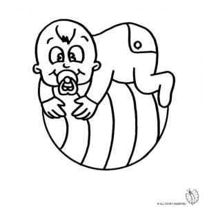 Disegno di Bambino sulla Palla da colorare