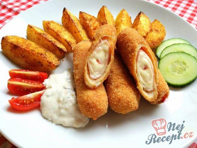 Šunko-sýrové smažené rolky s americkými brambory | NejRecept.cz