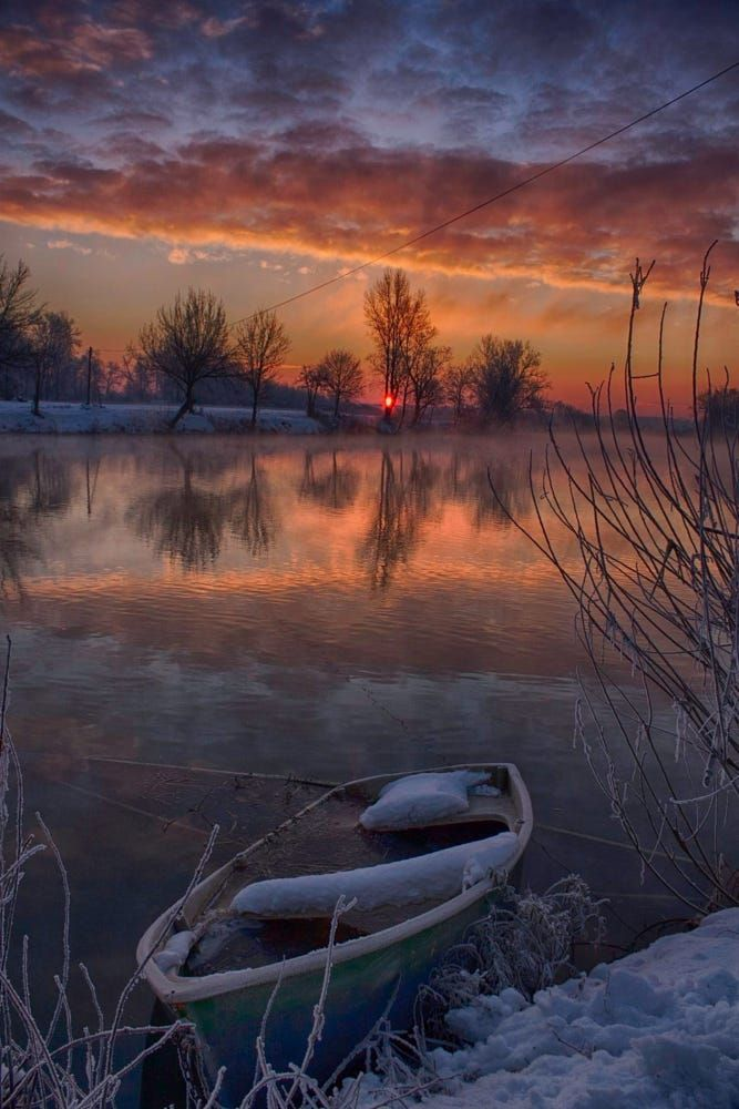 Korana u zimsko jutro (Kopiraj) by Oliver Švob..... #trees #sky #sunrise #winter #water #boat #river #blue #sun #light #clouds #tree #snow #down #Europe #Croatia