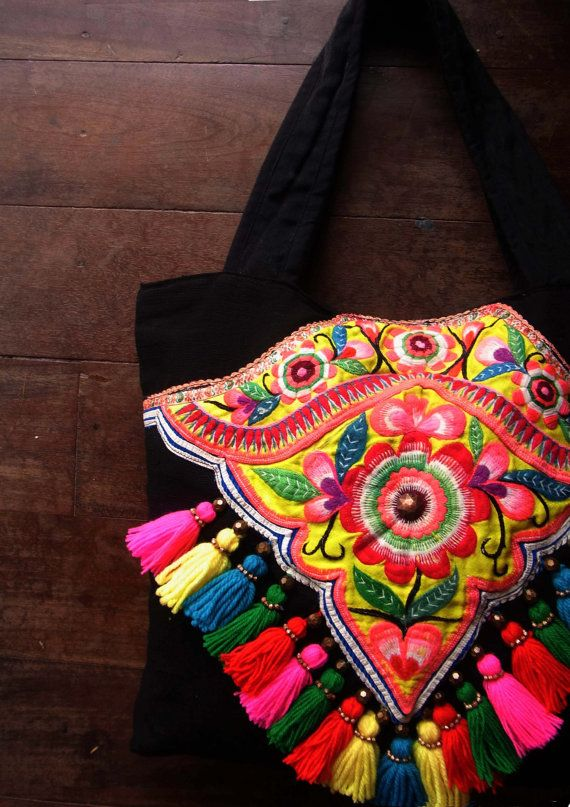 Ethnic embroidery purse with tassel // fringe // by realmlistic, $86.50