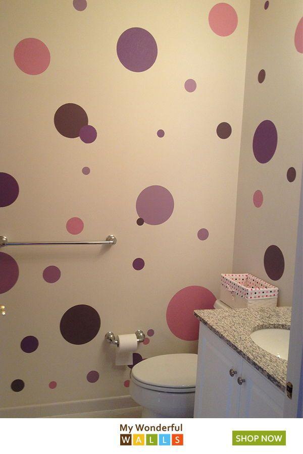 Polka Dot Stencils Circle Wall