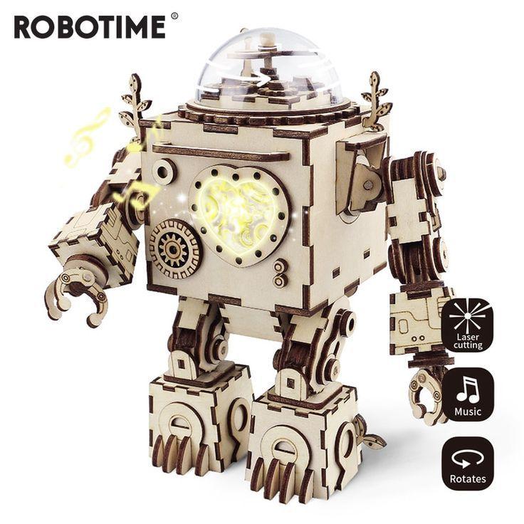 Robotime kreative diy 3d steampunk roboter holz puzzle spiel montage spieluhr sp…