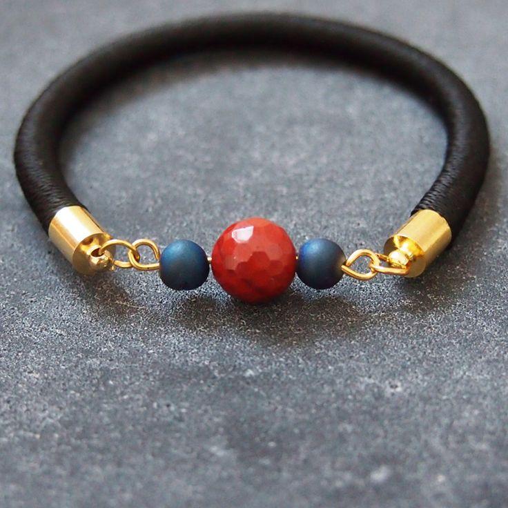 Chic jasper and druzy bracelet   unique friendship bracelet   druzy jewelry by AMjewelries on Etsy