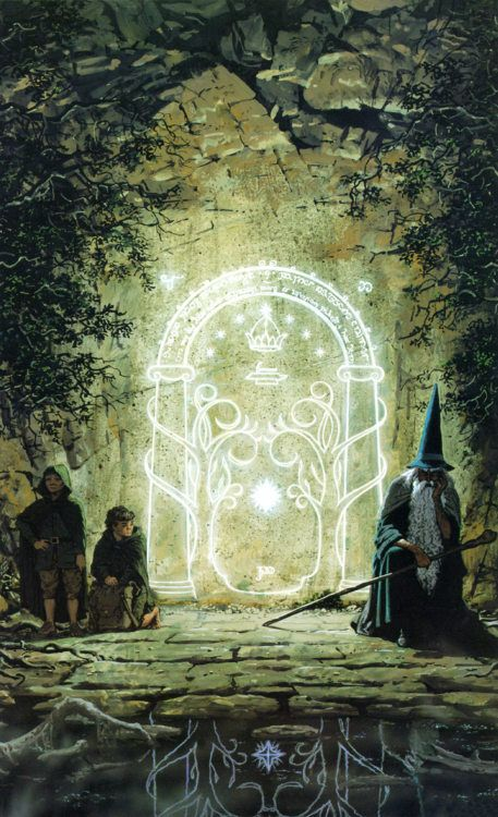 """""""Speak friend and enter."""" i saw a guy with a tattoo of the Gates of Moria. it was the awesomest thing i've ever seen, i was debating asking him to marry me right then and there, lol :P"""