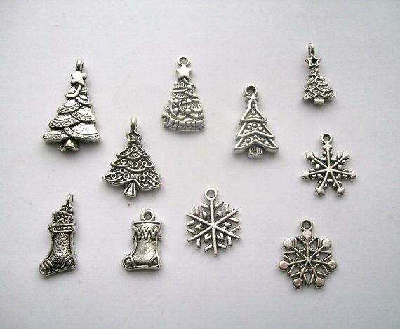10 Assorted Silver tone Christmas Charms Trees Snowflakes Stockings