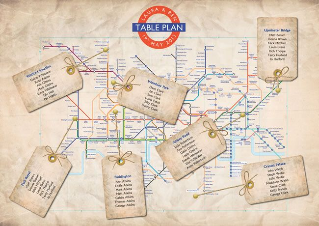 Vintage London Underground wedding table plan.For more vintage wedding inspiration read our blog at www.vintageweddingfair.co.uk