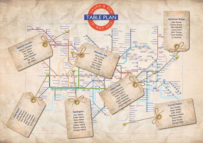Vintage London Underground wedding table plan.For more vintage wedding inspiration read our blog at www.vintageweddingfair.co.uk