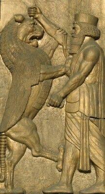 Persepolis Darius fighting the lyon, Persia / Iran