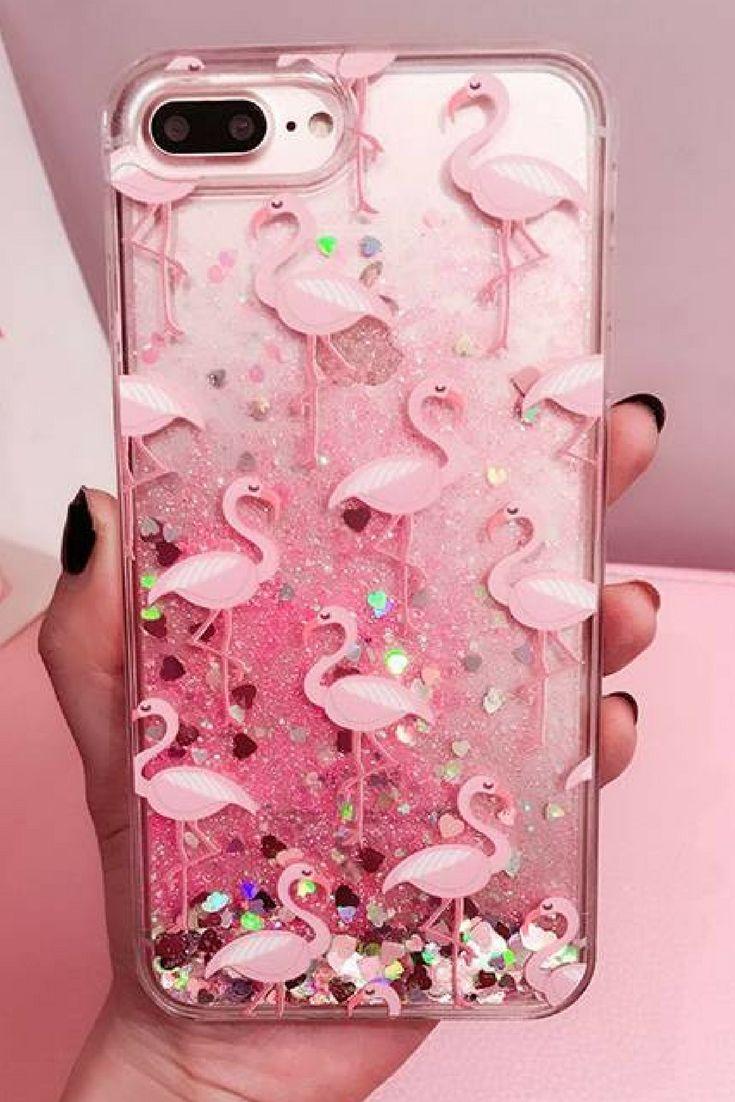 f5fe4e760e Pink Flamingo Glitter Waterfall Phone Case For iPhone 6, 6 Plus ...