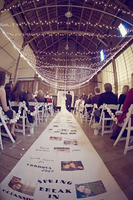 this bride made a #DIY aisle runner with a dating timeline of the couple's relationship!  such a sweet personal detail! http://www.oh-lovely-day.com/2012/03/diy-personalized-aisle-runner.html