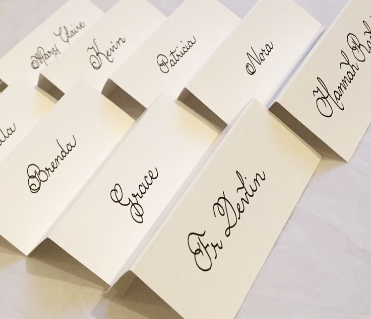 Elegant Wedding Place Cards Name Handwritten In Calligraphy