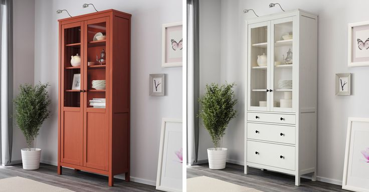 """Шкафы-витрины от IKEA – Серия мебели ХЕМНЭС от IKEA: шкафы-витрины из массива сосны красно-коричневые и белая морилка (дизайн Carina Bengs). Отличное решение для хранения вашей посуды и любимых безделушек. Позволяют продемонстрировать одни предметы и спрятать другие. Размеры 90х197 см. Цены от 95800 до 112400 тенге. В наличии в магазине EASY HOME. Адрес: Алматы, ул.Кабдолова, 22-Б, ТЦ """"For Room"""", 3-й этаж, тел: 356-46-96, +7 777 584-77-99. www.easyhome.kz"""