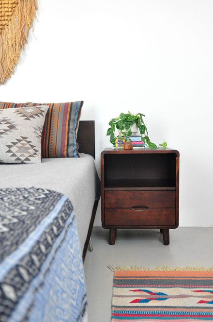 love the patterns + the bedside table_Down and Out Chic: Interiors: Collected Casual