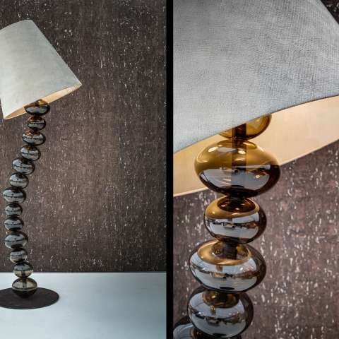 Exclusive floor-lamp designed with luxurious hand-crafted glass bulbs and fitted with LED lights by Kolenik for Maretti.