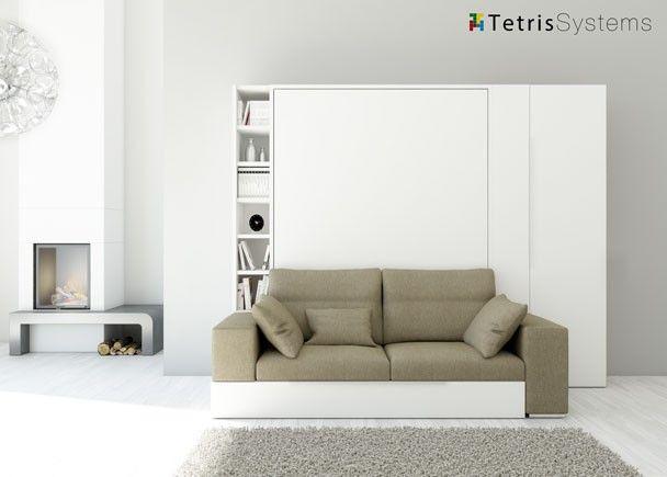Sal n con cama abatible y sof armario camas abatibles for Sofa cama armario