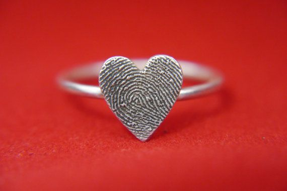 fingerprint jewellery- heart shaped sterling silver fingerprint ring- made to order, PLEASE SCROLL DOWN for full details