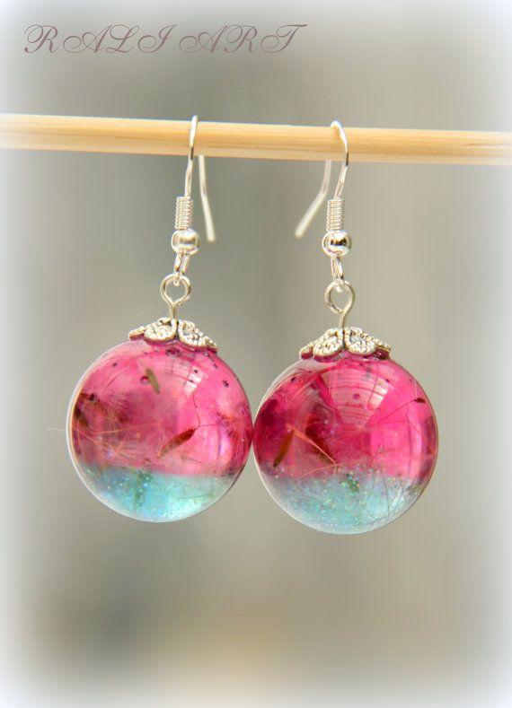 Resin real flower Resin earrings Earrings by RALIJEWELLERY on Etsy