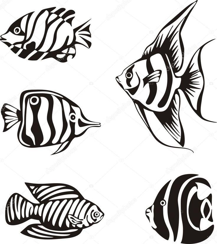 Набор черно-белых тропических рыб — стоковая иллюстрация ...