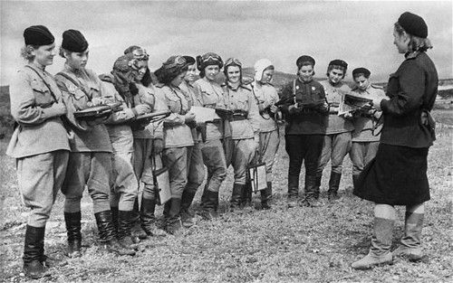 """""""The Night Witches were Russian lady bombers who bombed German lines in WW2. Their ancient planes used to conk out halfway through their missions, so they had to climb out on the wings mid-flight to restart the props. The planes were also so noisy that to stop Germans from hearing them coming, they'd climb up to a certain height, coast down to german positions, drop their bombs, and restart their engines in midair. Their leader flew over 200 missions and was never captured."""""""