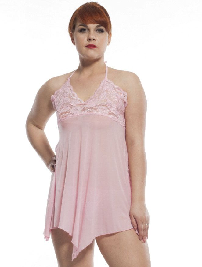 The perfect choice for honeymoons, anniversaries, Valentine's Day, or any other occasion, this enticing babydoll set is sure to leave you looking and feeling sexy every time you wear it! The soft and sheer, pink cotton-poly mesh flows effortlessly around the body, accented with a feminine, floral lace halter top for an extra comfortable fit and a sweet, yet seductive finish. This tantalising two piece set also comes with a G-String to perfectly match your new nightie. Complete the look with…