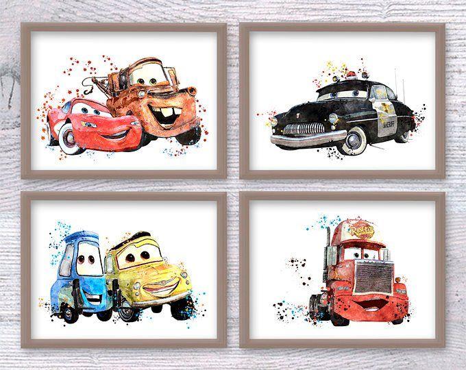 Disney Cars Poster Set Of 6 Cars Print Disney Wall Decor Baby Etsy Disney Wall Decor Kids Room Art Disney Wall