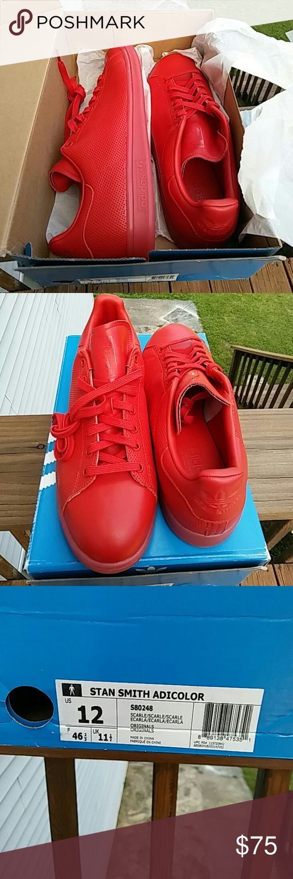 Mens adidas sz 12 stan smith adicolor- red nwts Adidas Stan Smith Adicolor Men's Size 8.5, nwts, color red, message for questions    STYLE NUMBER:?S80248   COLOR:?Scarlet Red   CONDITION:?Brand New?   COMES WITH:??  Original Adidas Shoe Box    Shoes will be double boxed. I only accept payments via Pay Pal, shoes will ship either the same day or the day after payment is?received. Monday-Saturday. Tracking number will be provided.?   International Buyers are responsible for customs taxes and…