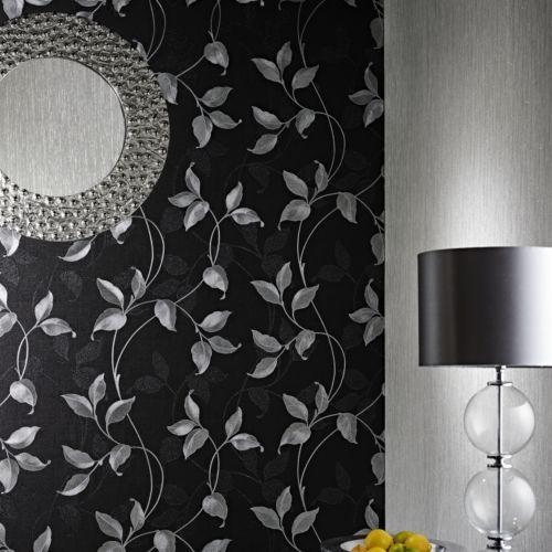 Arthouse-Capriata-Black-and-Silver-Leaf-Wallpaper-290300-Heavyweight-Vinyl