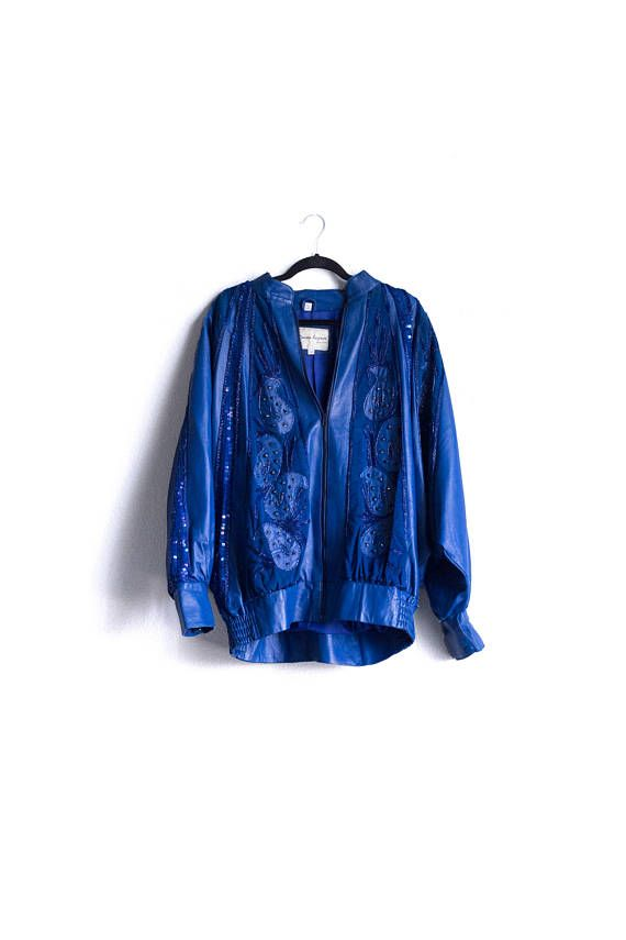 Vintage Donna Lepure NY Sequin Leather Bomber Jacket, XL, Oversized, Blue, Womens