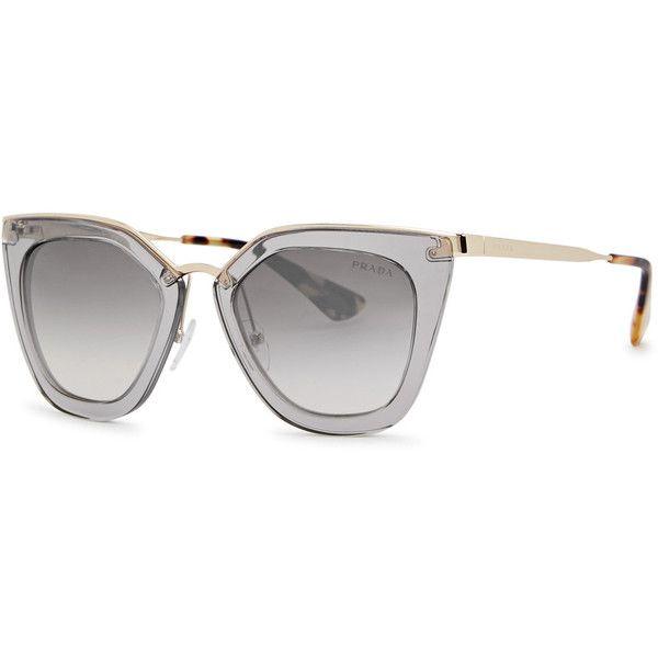 Prada Grey Cat-eye Sunglasses (910 TND) ❤ liked on Polyvore featuring accessories, eyewear, sunglasses, tortoiseshell cat eye sunglasses, prada sunglasses, tortoiseshell sunglasses, acetate sunglasses and tortoise cat eye sunglasses