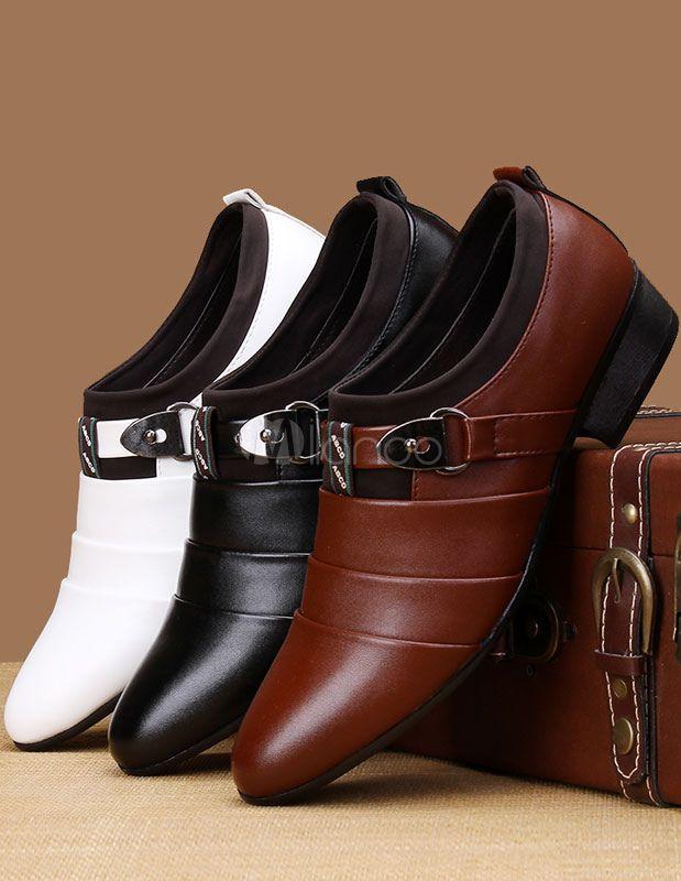Señaló Toe PU de cuero zapatos de vestir para hombres - Milanoo.com