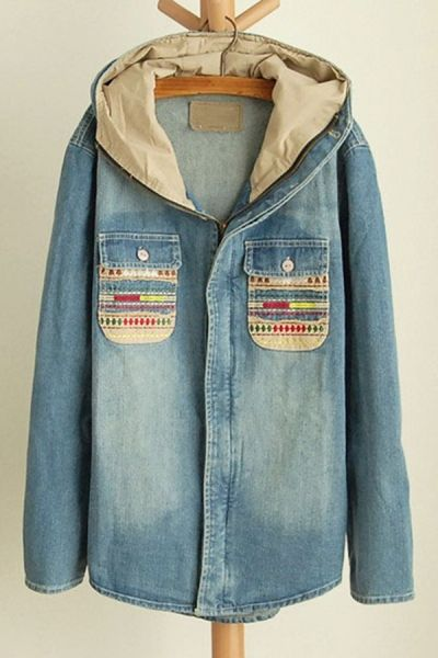 Want! Embroidered Hooded Denim Jacket