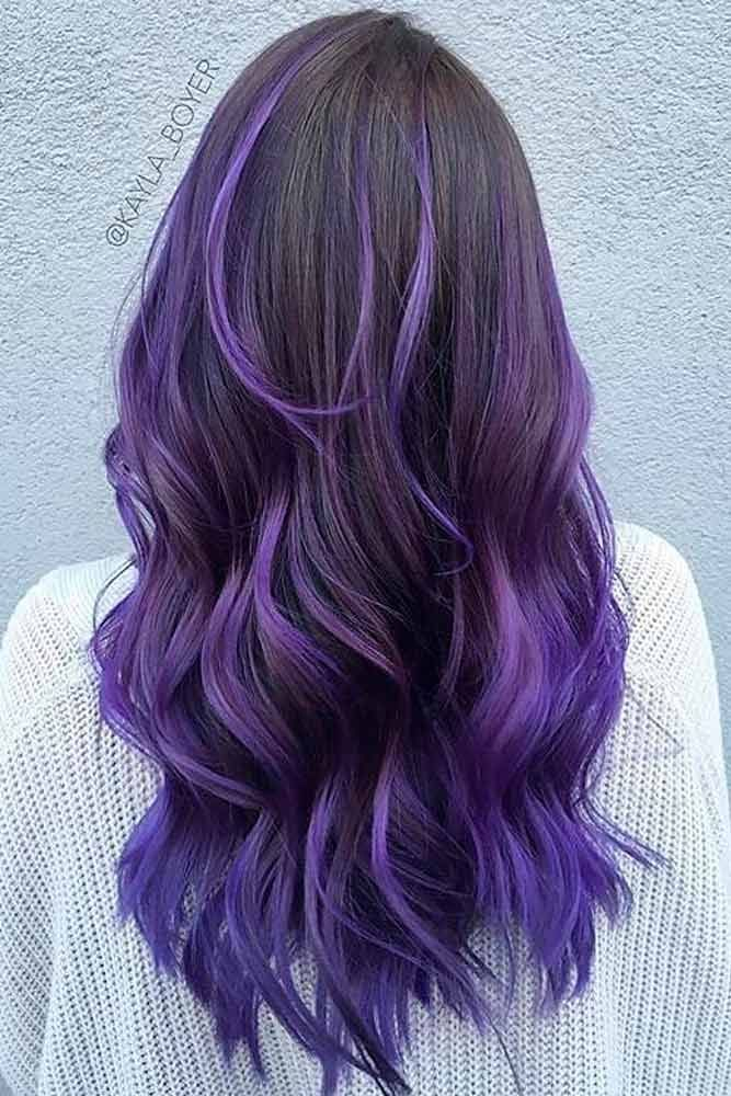 Lavender Tips On Long Hair #longhair #hairhighlights ★ Purple ombre hair is literally everywhere for its endless variety of shades. You can mix it with blue and pink, rock lavender balayage, and flaunt with anything from dark to light pastel. Dive in to find the best color for brunettes and blondes! #glaminati #hairstyles #purpleombrehair