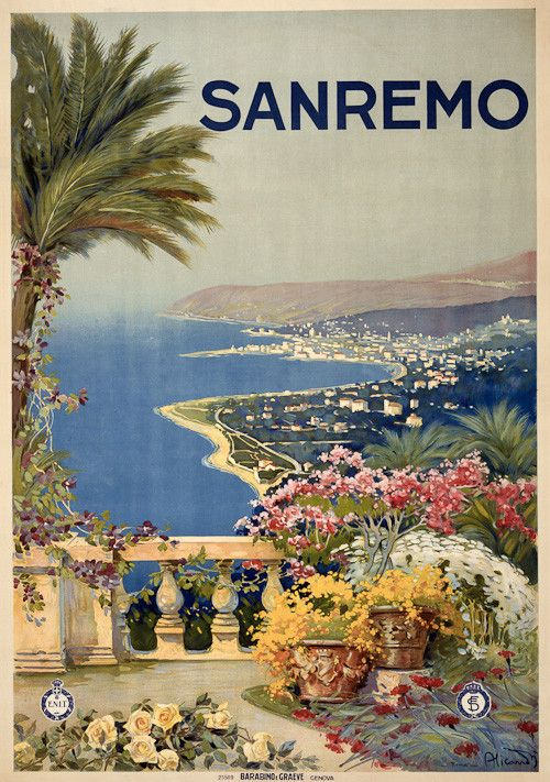 A view of the Sanremo, Italy, coast from a garden terrace. Barabino e Graeve, c. 1920. Vintage travel poster.