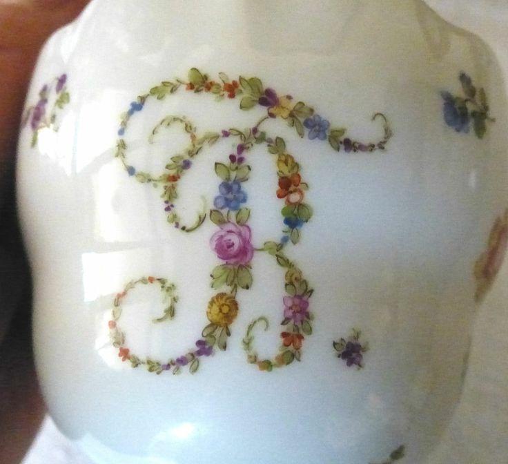 Meißen Monogramm - Tasse mit Untertasse Biedermeier Blütenmuster Echte Rarität!!