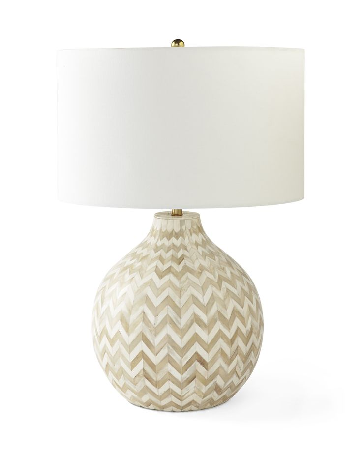 Bone inlay in a natural colorway & classic chevron pattern | Inlaid Bone Table Lamp via Serena & Lily